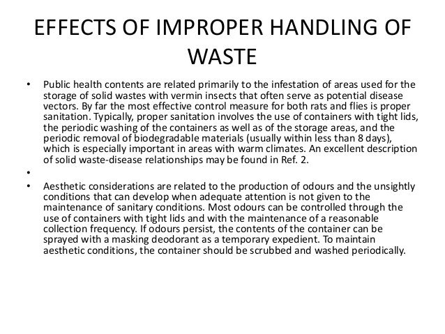 CAUSE AND EFFECT OF IMPROPER WASTE MANAGEMENT