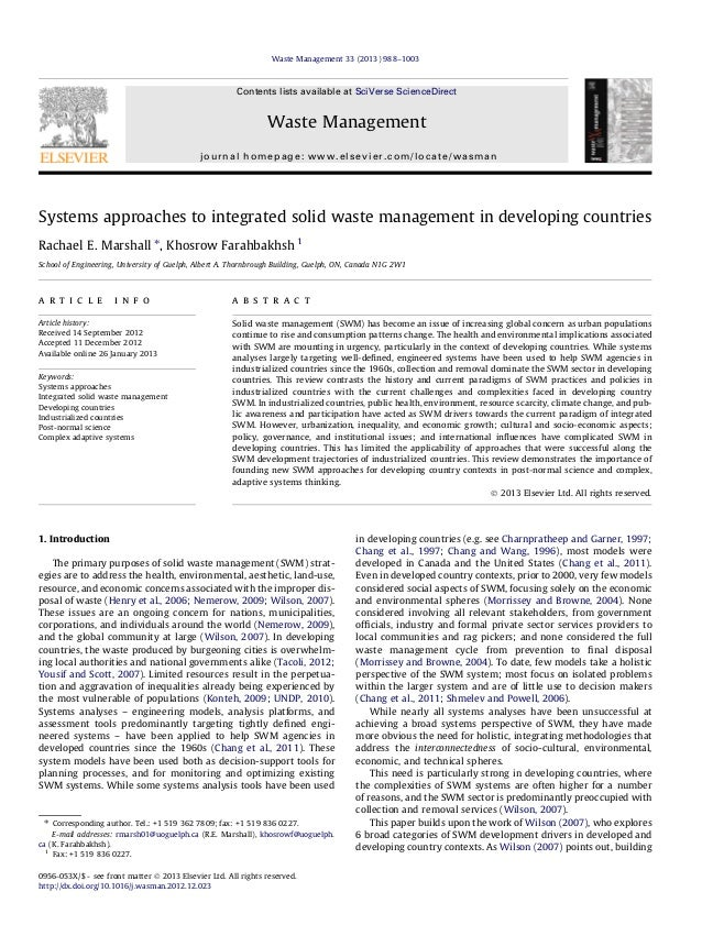 Waste Management 33 (2013) 988–1003  Contents lists available at SciVerse ScienceDirect  Waste Management journal homepage...