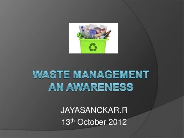 Waste Management Awareness -BBMP-BANGALORE