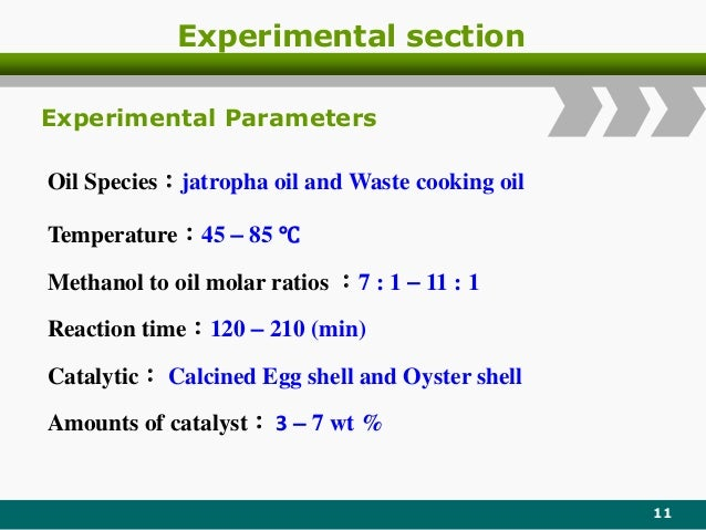 Experimental section 11 Oil Species:jatropha oil and Waste cooking oil Temperature:45  85 ℃ Methanol to oil molar ratios ...