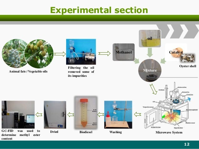 Experimental section 12 Mixture Methanol oil Catalyst Animal fats / Vegetable oils Filtering the oil removed some of its i...