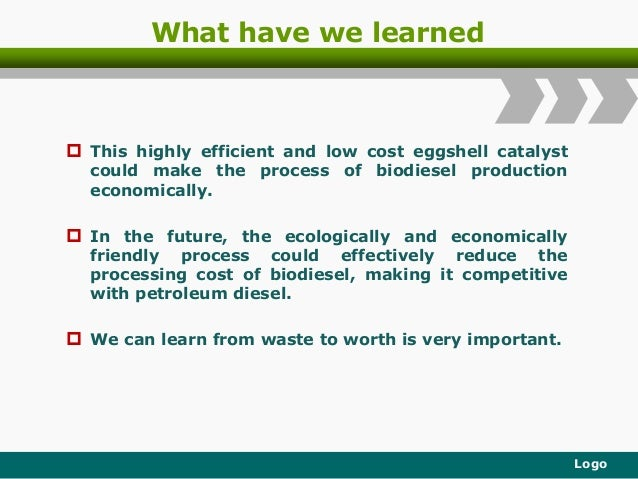 What have we learned  This highly efficient and low cost eggshell catalyst could make the process of biodiesel production...
