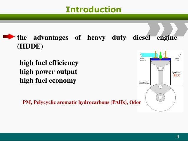 Introduction 4 the advantages of heavy duty diesel engine (HDDE) high fuel efficiency high power output high fuel economy ...