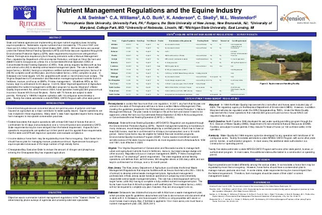 Nutrient Management Regulations and the Equine IndustryA.M. Swinker1, C.A. Williams2, A.O. Burk3, K. Anderson4, C. Skelly5...