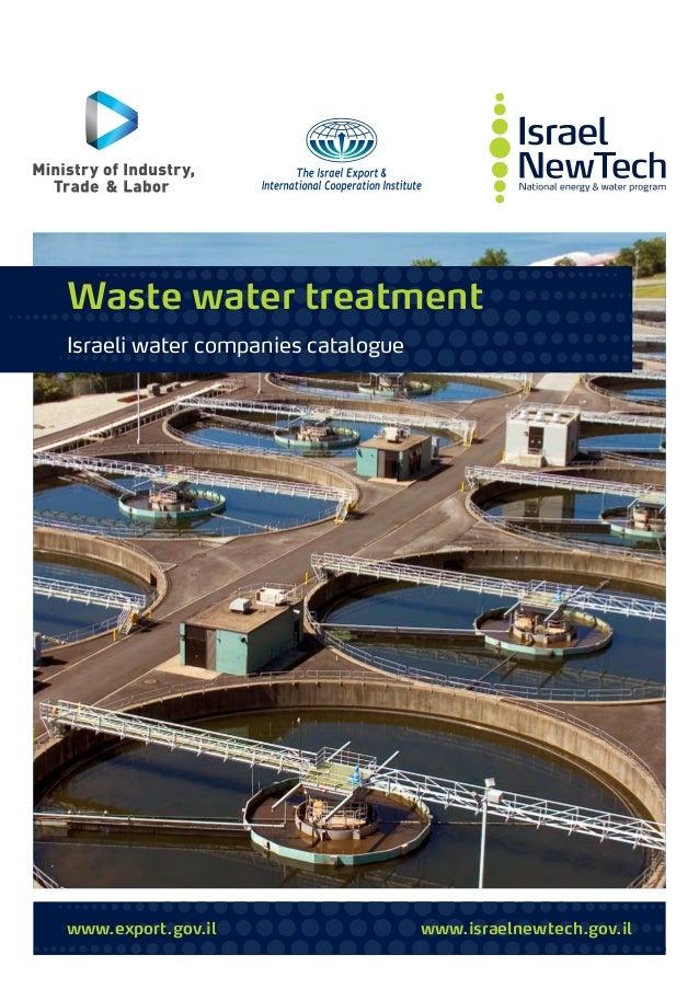 www.export.gov.il www.israelnewtech.gov.il Waste water treatment Israeli water companies catalogue