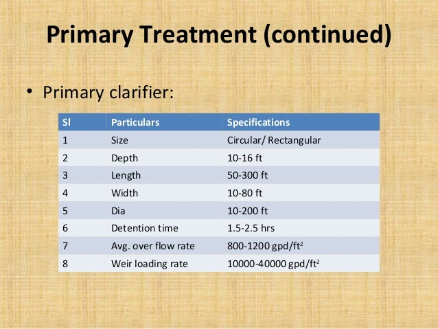 Primary Treatment (continued)• Primary clarifier:    Sl     Particulars           Specifications    1      Size           ...