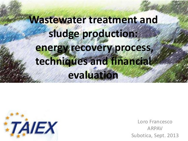 Wastewater treatment and sludge production: energy recovery process, techniques and financial evaluation Loro Francesco AR...