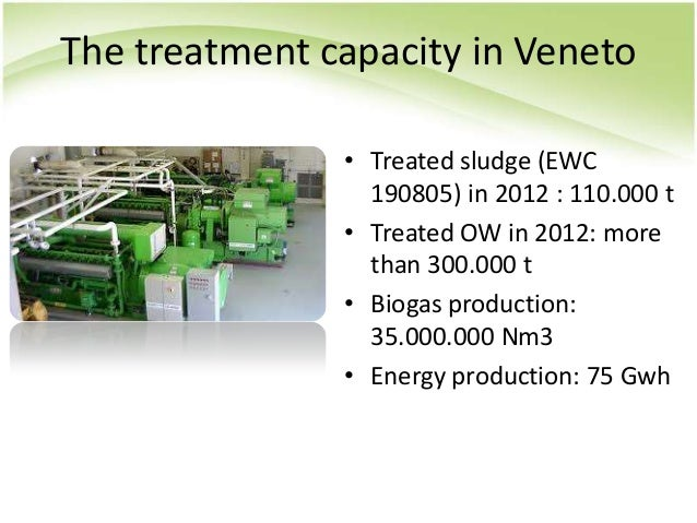 The treatment capacity in Veneto • Treated sludge (EWC 190805) in 2012 : 110.000 t • Treated OW in 2012: more than 300.000...