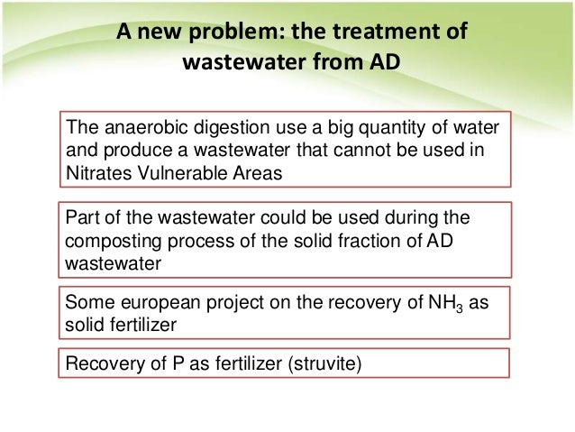 A new problem: the treatment of wastewater from AD The anaerobic digestion use a big quantity of water and produce a waste...