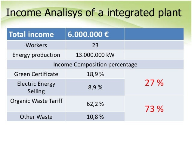 Income Analisys of a integrated plant Total income 6.000.000 € Workers 23 Energy production 13.000.000 kW Income Compositi...