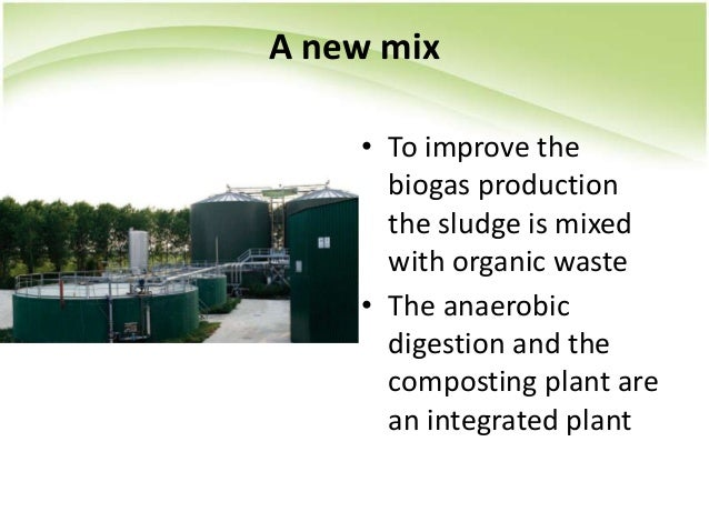 A new mix • To improve the biogas production the sludge is mixed with organic waste • The anaerobic digestion and the comp...