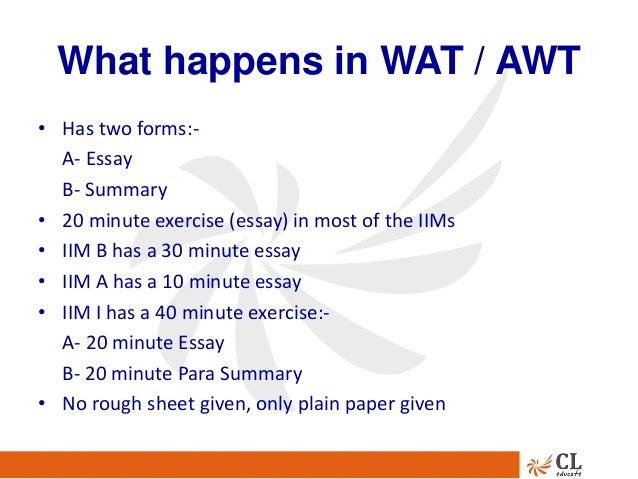 essays pertaining to iim wat