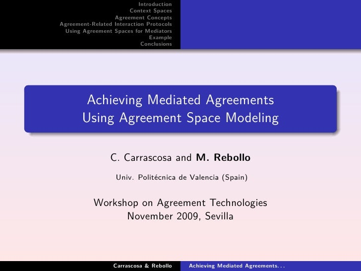 Introduction                         Context Spaces                   Agreement Concepts Agreement-Related Interaction Pro...