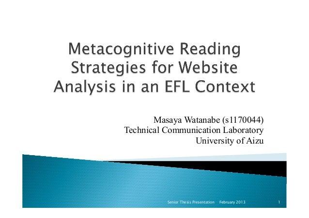 Masaya Watanabe (s1170044)Technical Communication LaboratoryUniversity of AizuFebruary 2013Senior Thesis Presentation 1