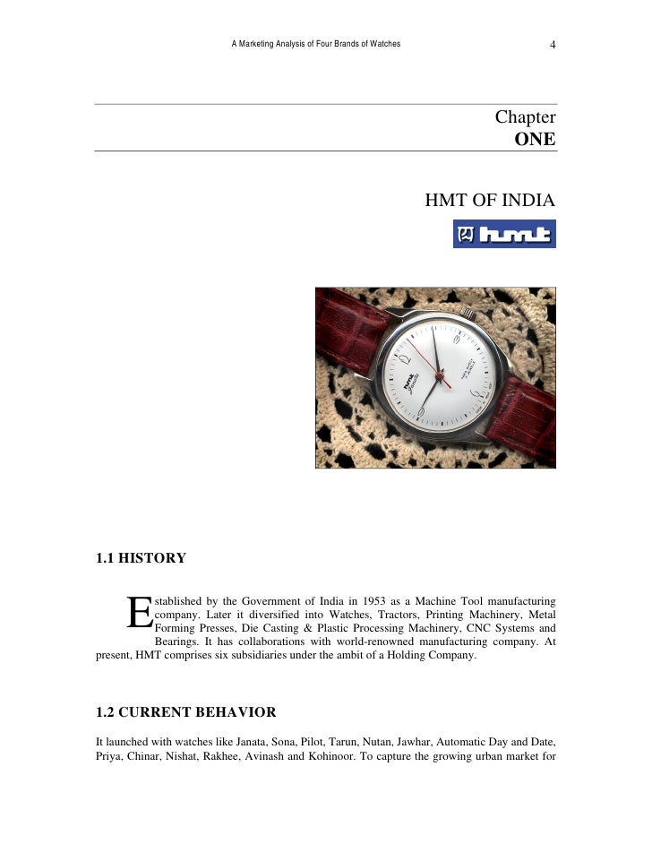 A Marketing Analysis of Four Brands of Watches: HMT, Titan