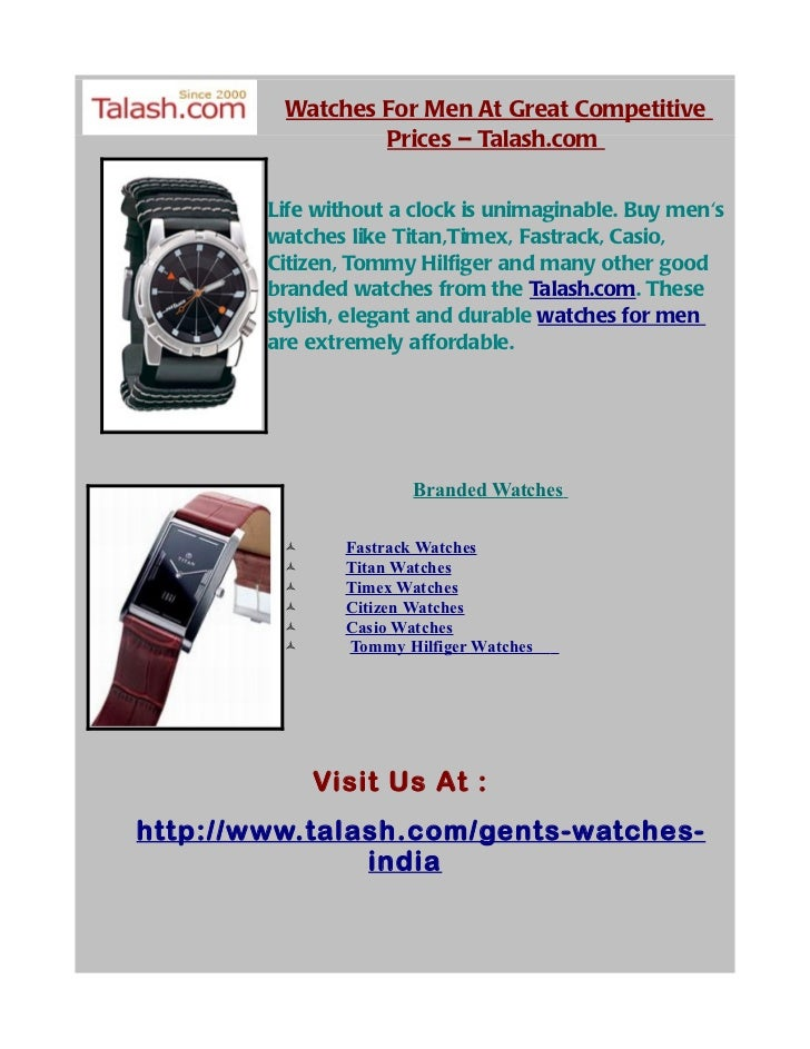 Watches For Men At Great Competitive                  Prices – Talash.com          Life without a clock is unimaginable. B...