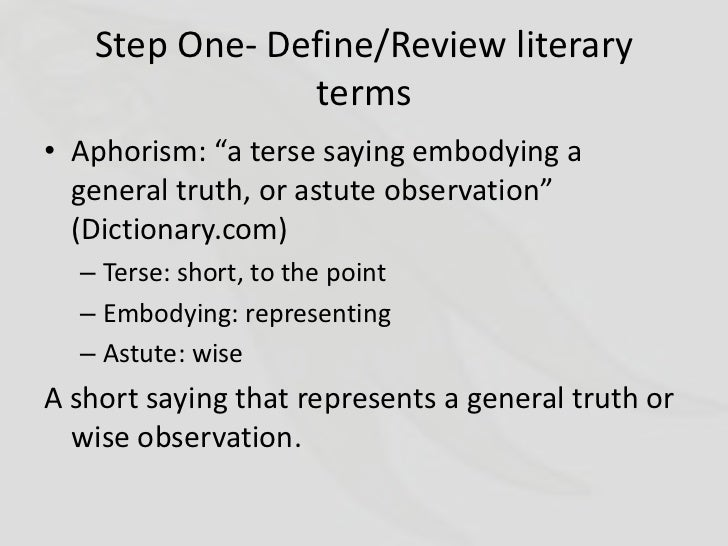 aphorism definition literature
