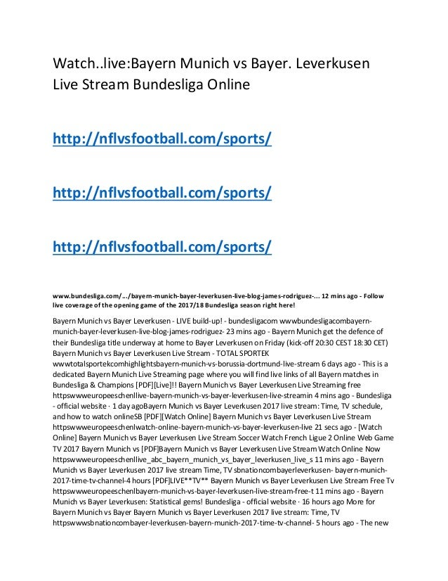 Bayern Bayer Leverkusen Live Stream