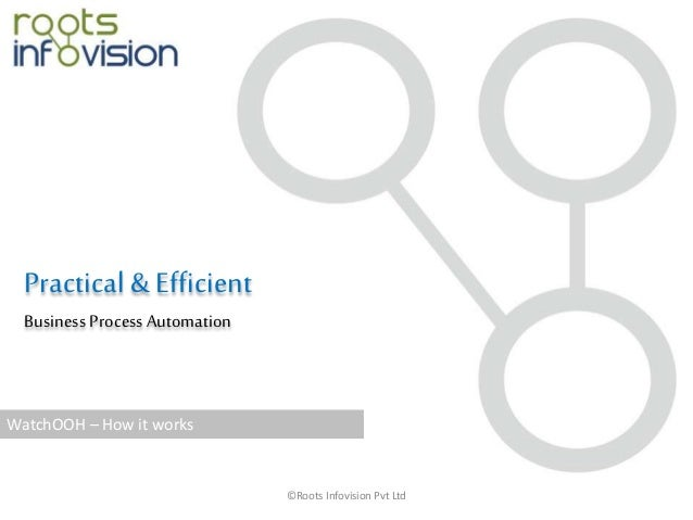 ©Roots Infovision Pvt Ltd Practical & Efficient Business Process Automation WatchOOH – How it works