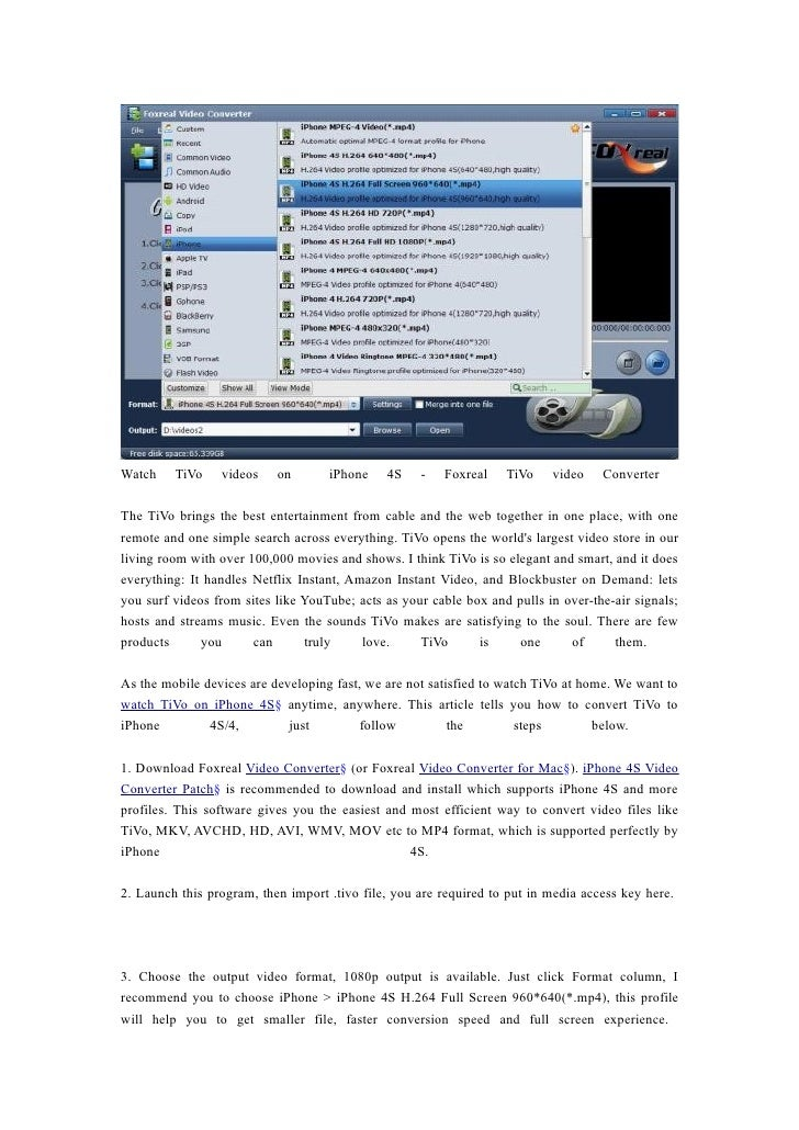 Watch ti vo videos on  iphone 4s   foxreal tivo video converter