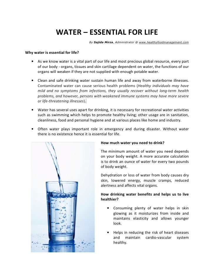 WATER – ESSENTIAL FOR LIFE                                      By Sajida Mirza, Administrator @ www.healthyfoodmanagement...
