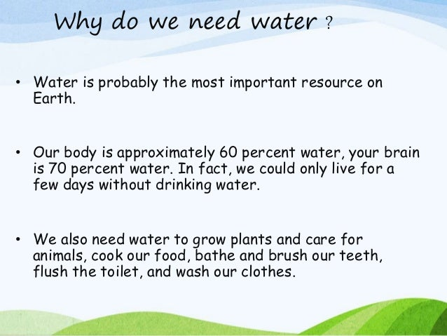 essay about the importance of saving water Water page resources importance of water conservation fresh, clean water is a limited resource while most of the planet is covered in water, it is salt water that.