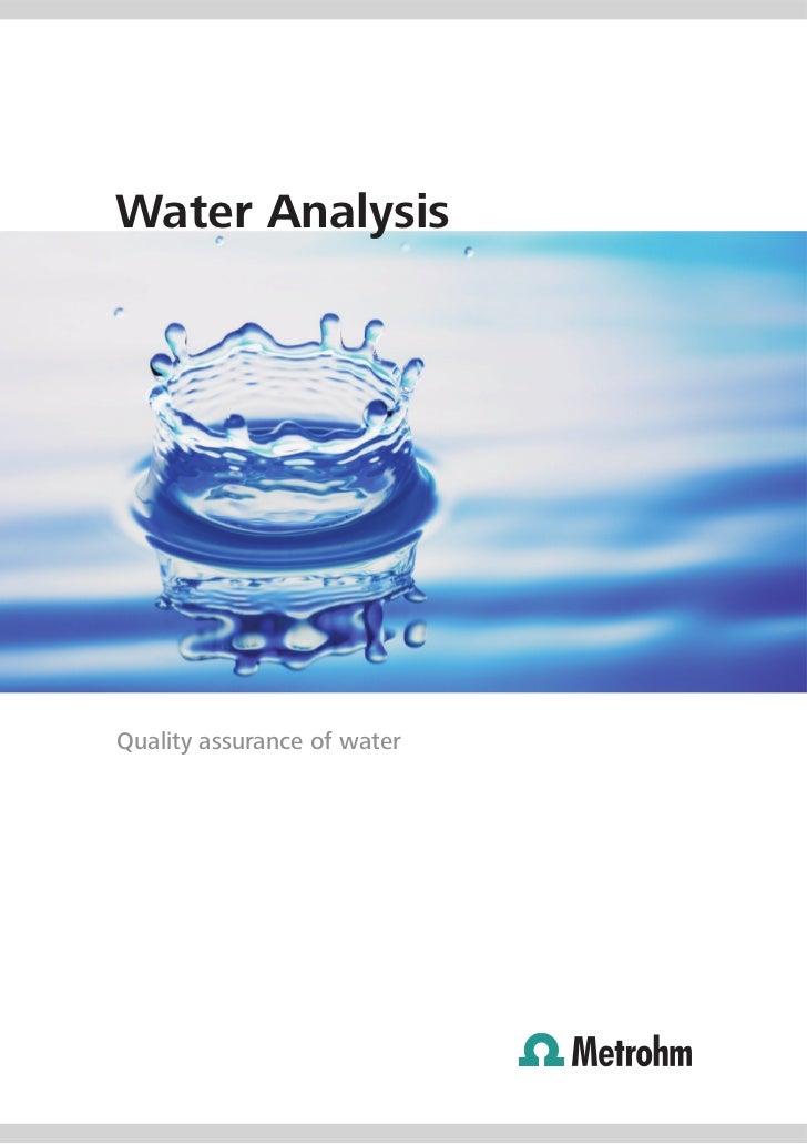 Water AnalysisQuality assurance of water