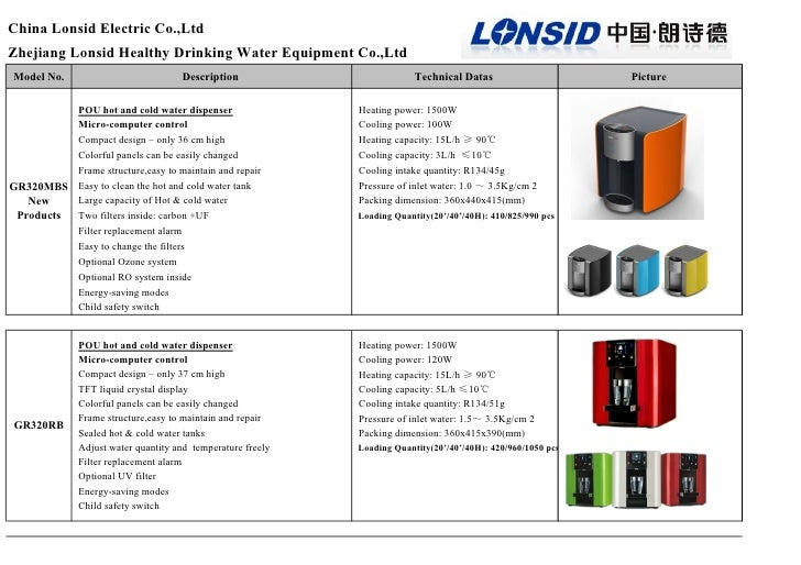 China Lonsid Electric Co.,LtdZhejiang Lonsid Healthy Drinking Water Equipment Co.,LtdModel No.                            ...