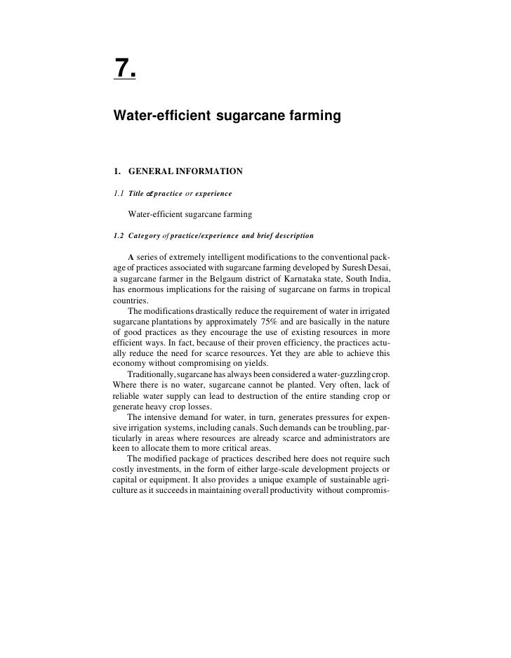 7. Water-efficient sugarcane farming   1. GENERAL INFORMATION  1.1 Title of practice or experience      Water-efficient su...