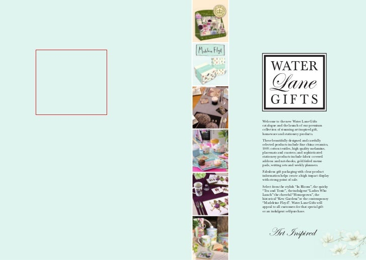 Welcome to the new Water Lane Giftscatalogue and the launch of our premiumcollection of stunning art inspired gift,homewar...