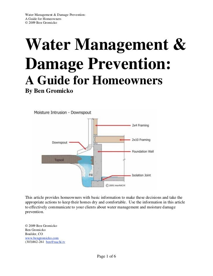 Water Management & Damage Prevention:A Guide for Homeowners© 2009 Ben GromickoWater Management &Damage Prevention:A Guide ...