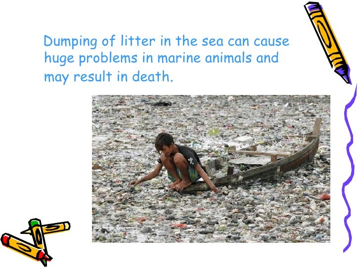 <ul><li>Dumping of litter in the sea can cause huge problems in marine animals and may result in death . </li></ul>