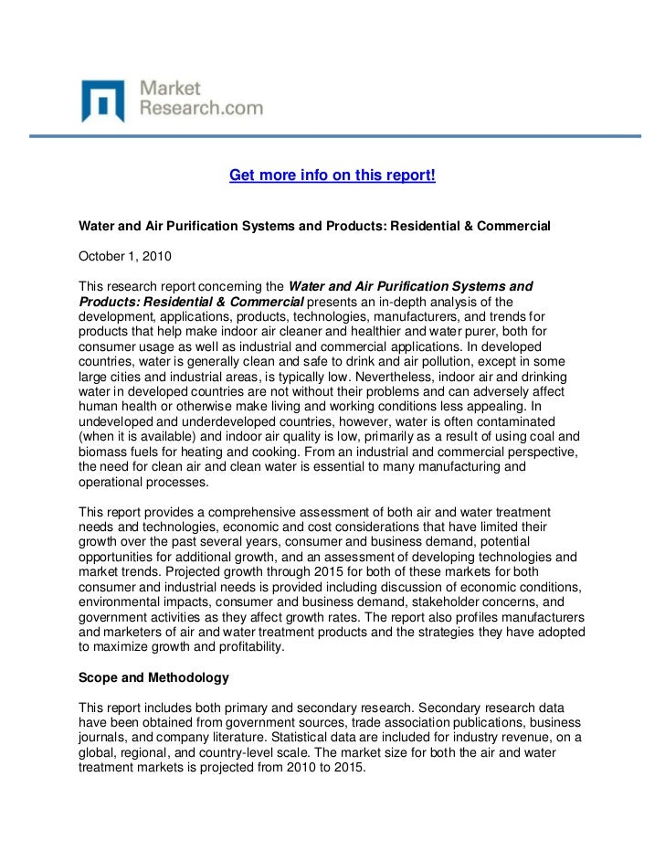 Get more info on this report!Water and Air Purification Systems and Products: Residential & CommercialOctober 1, 2010This ...