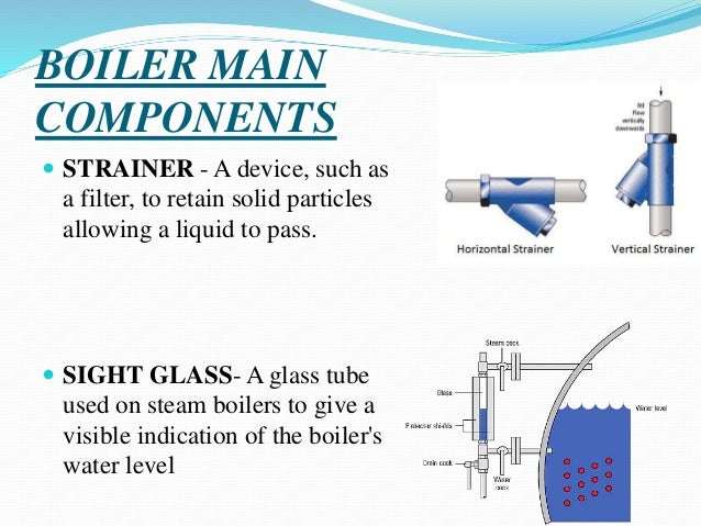 BOILER MAIN COMPONENTS  STRAINER - A device, such as a filter, to retain solid particles allowing a liquid to pass.  SIG...