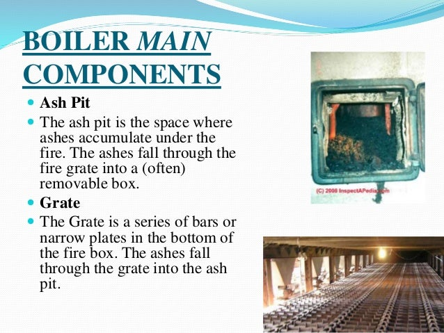 BOILER MAIN COMPONENTS  Ash Pit  The ash pit is the space where ashes accumulate under the fire. The ashes fall through ...