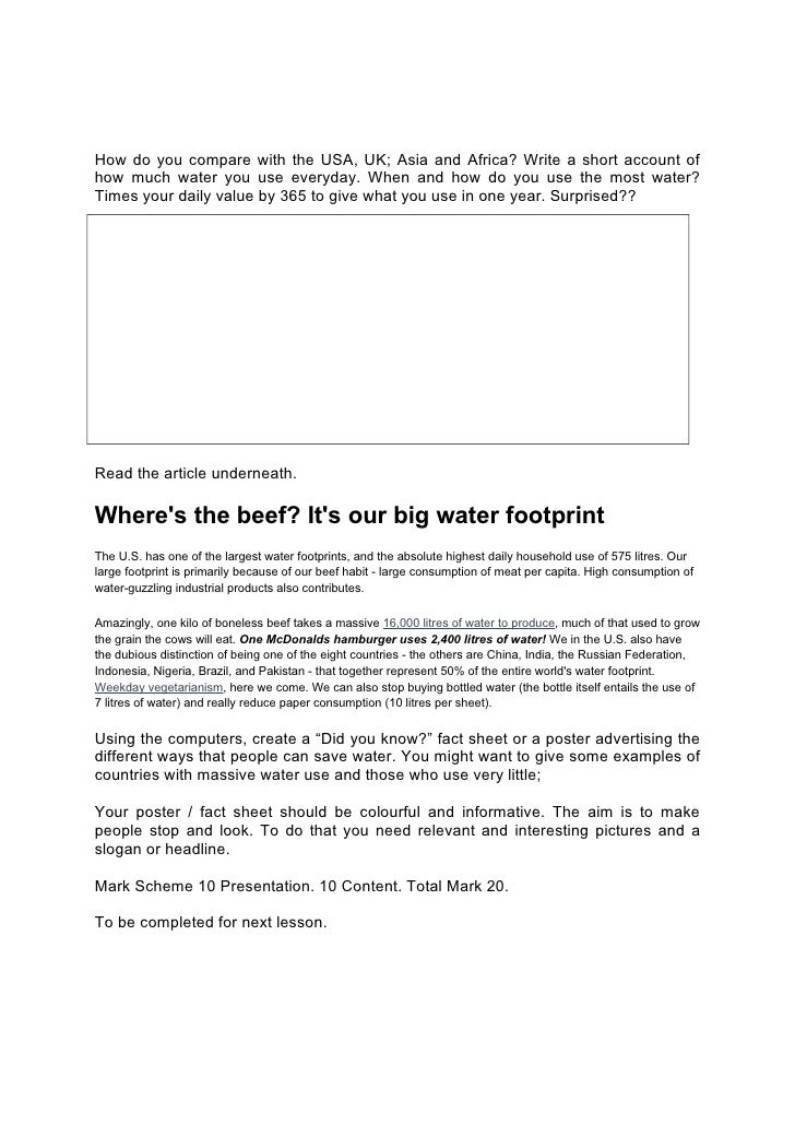 Water And Me Worksheet