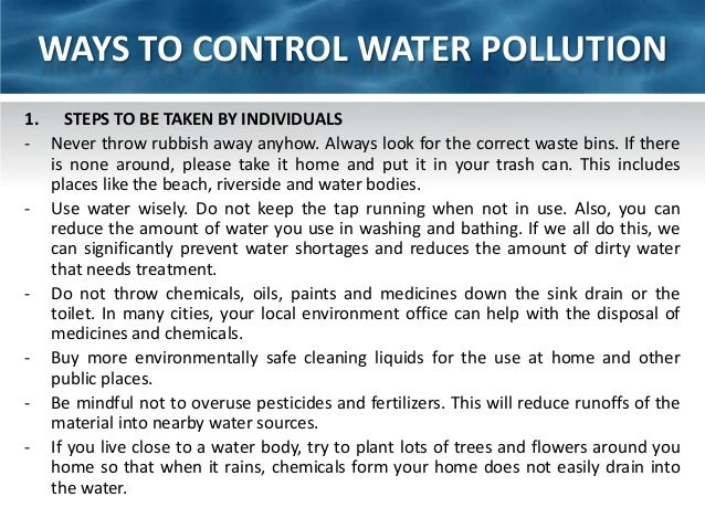the steps to take to correct the problem of water pollution Even though pollution in lake erie was a regional problem, cleveland bore the brunt of the negative publicity the burning river and the dead lake were major impetuses for the federal government to step in and deal with water pollution in cleveland and across the nation in 1972.