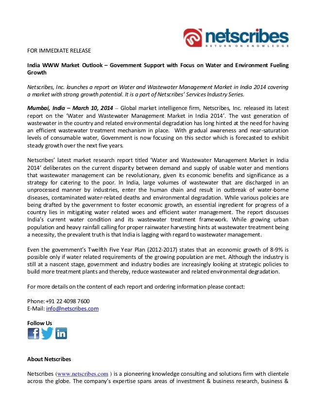 FOR IMMEDIATE RELEASE India WWW Market Outlook – Government Support with Focus on Water and Environment Fueling Growth Net...