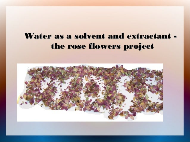 Water as a solvent and extractant -     the rose flowers project