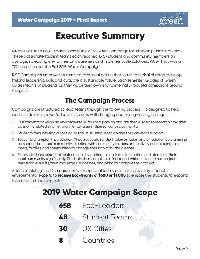 Water Campaign 2019 - Final ReportWater Campaign 2019 - Final Report Page 2 Executive Summary Grades of Green Eco-Leaders ...
