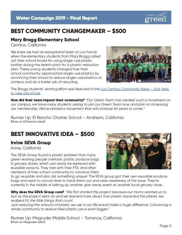 BEST COMMUNITY CHANGEMAKER – $500 Mary Bragg Elementary School Cerritos, California We knew we had an exceptional team on ...