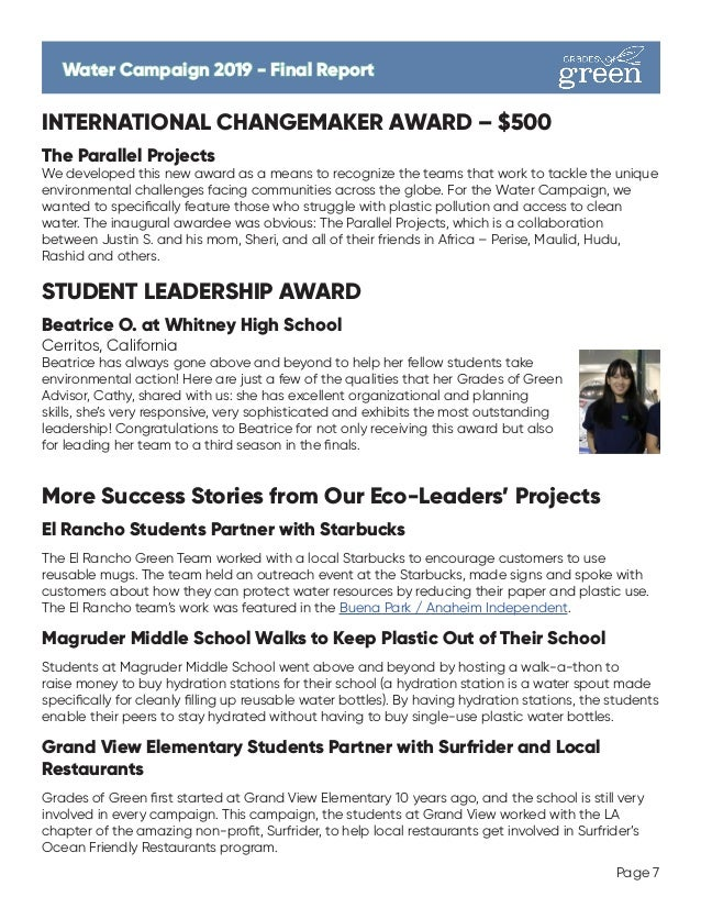 INTERNATIONAL CHANGEMAKER AWARD – $500 The Parallel Projects We developed this new award as a means to recognize the teams...