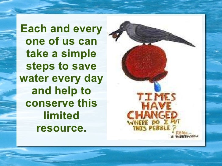 Each and every one of us can take a simple steps to save water every day and help to conserve this limited resource.