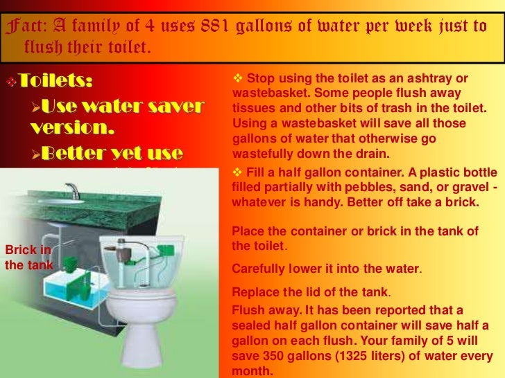 Fact: A family of 4 uses 881 gallons of water per week just to flush their toilet.<br /><ul><li>Toilets: