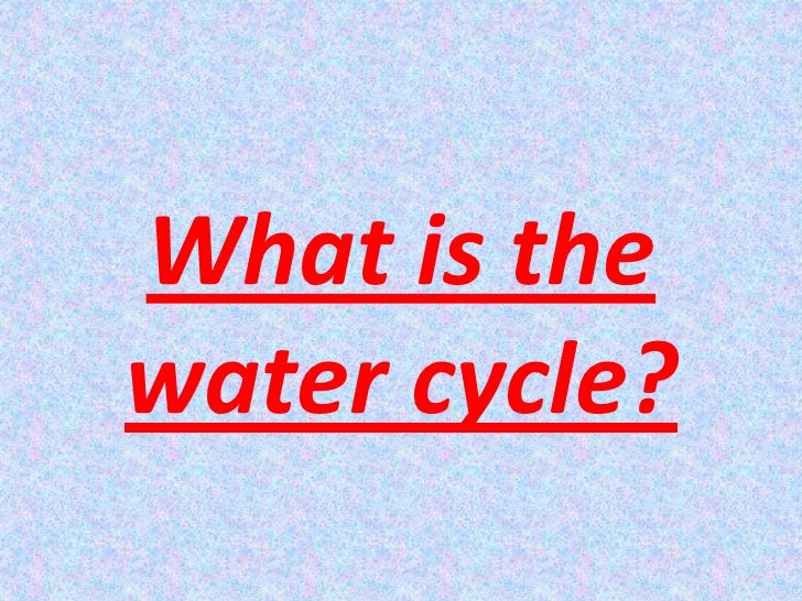What is the water cycle?<br />