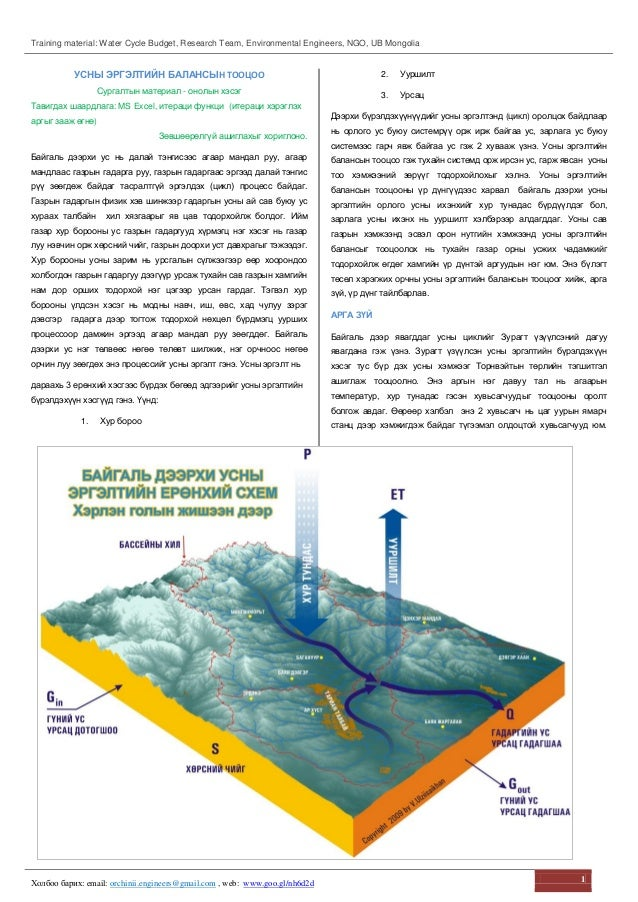 Training material: Water Cycle Budget, Research Team, Environmental Engineers, NGO, UB Mongolia Холбоо барих: email: orchi...