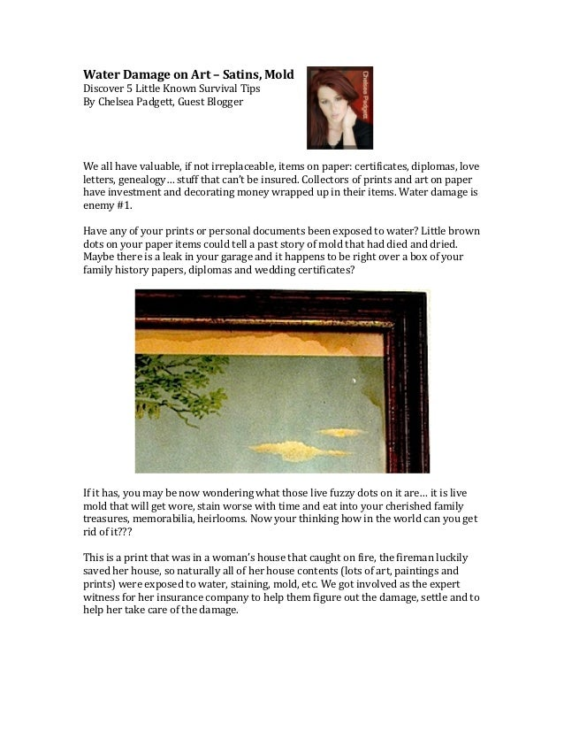 Water Damage on Art – Satins, Mold Discover 5 Little Known Survival Tips By Chelsea Padgett,...