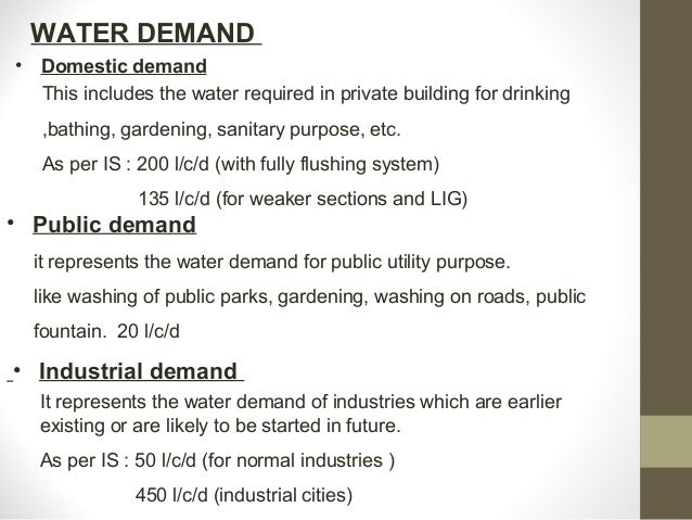 Water demand and factor affecting water demand