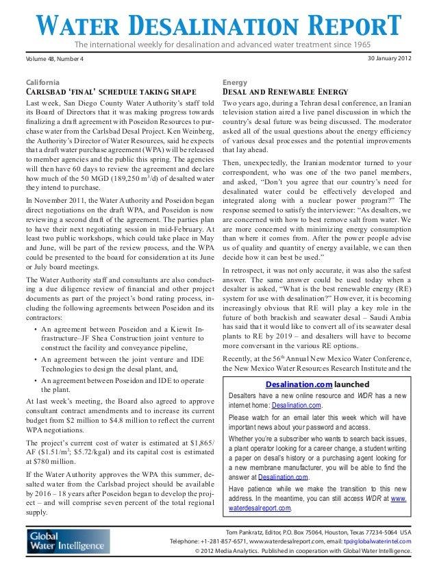 Water Desalination ReporT California Carlsbad 'final' schedule taking shape Last week, San Diego County Water Authority's ...