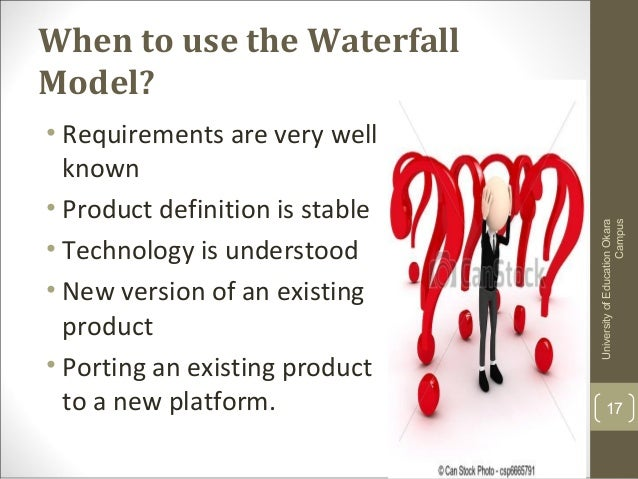 Waterfall model for When to use waterfall model